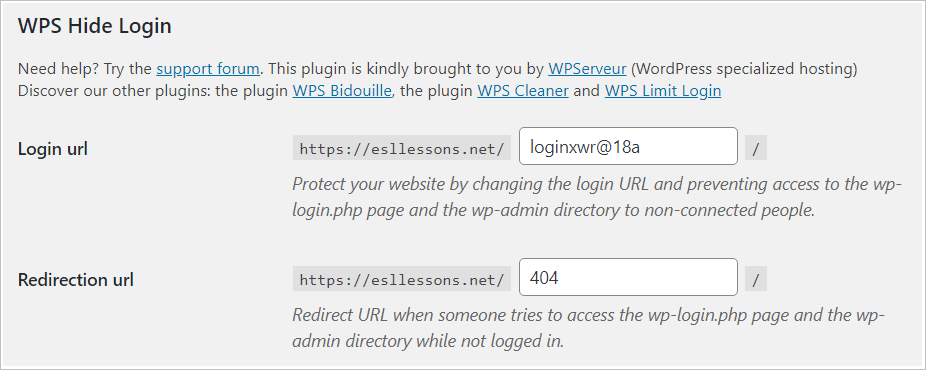 Change the login page url with a custom web address