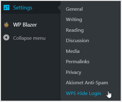 WP dashboard Settings menu and select Hide login