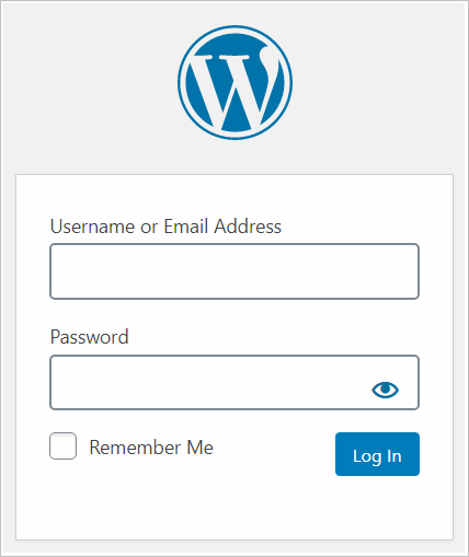 Standard WordPress login page