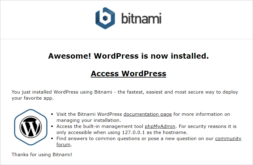 WordPress locally access site