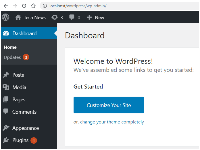 install WordPress locally dashboard