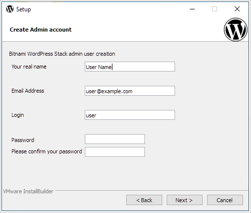 how to install WordPress locally admin details