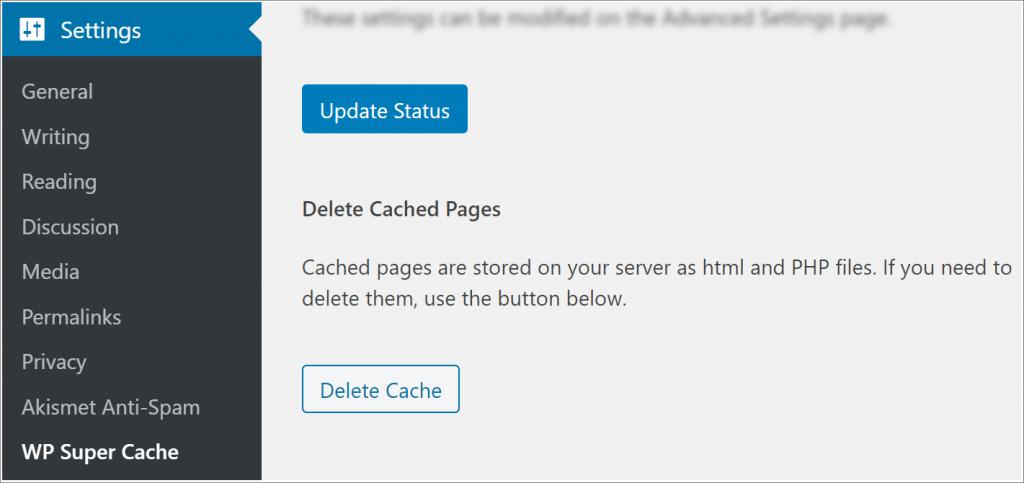 WP Super Cache clear WordPress cache