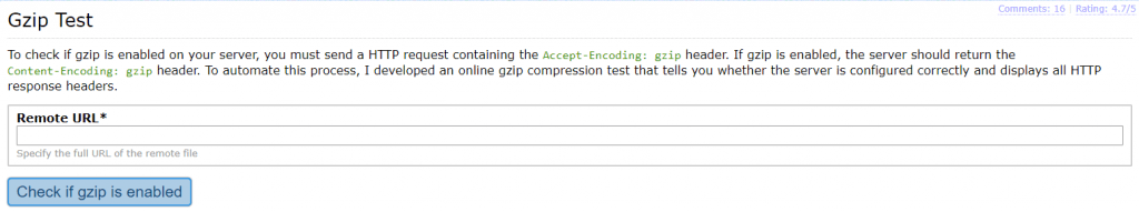 Image showing if Gzip WordPress is working on your server - Part 1