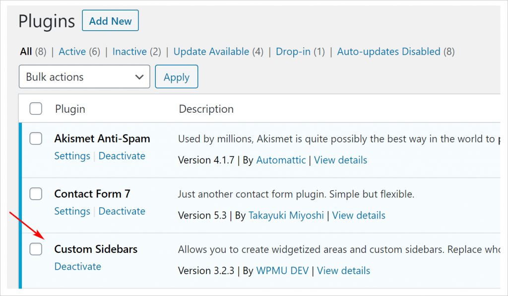 confirm activation WordPress plugin management