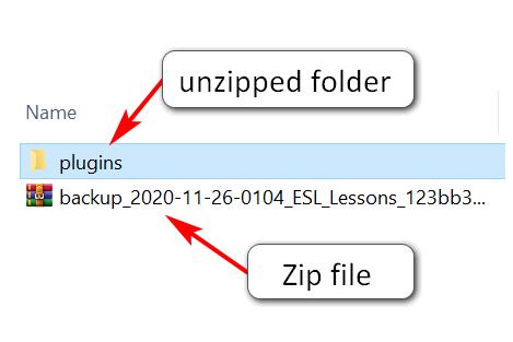 zipped backup files