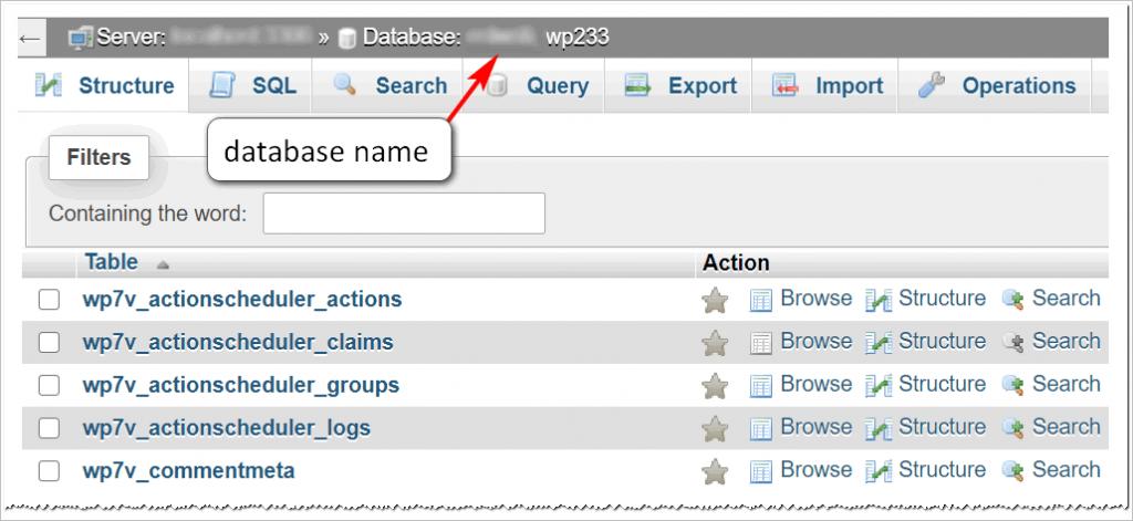 open database on server