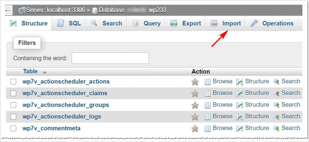 import back up database files