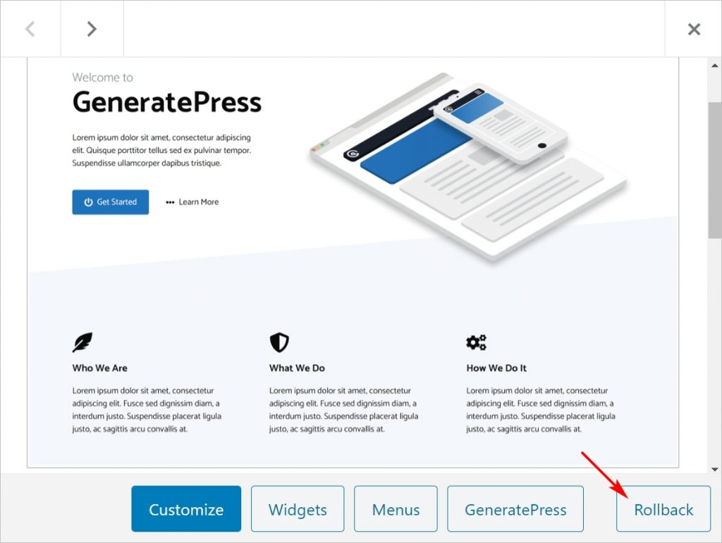 rollback WordPress theme