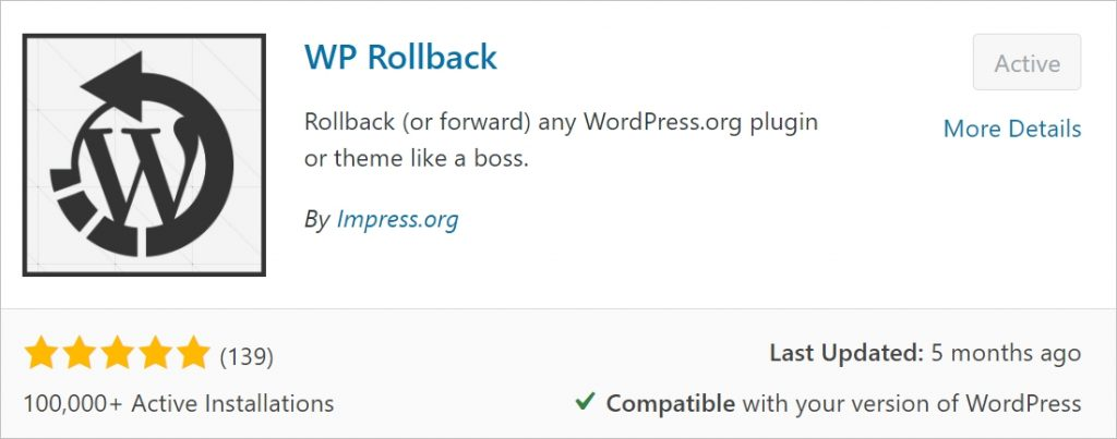WordPress site rollback