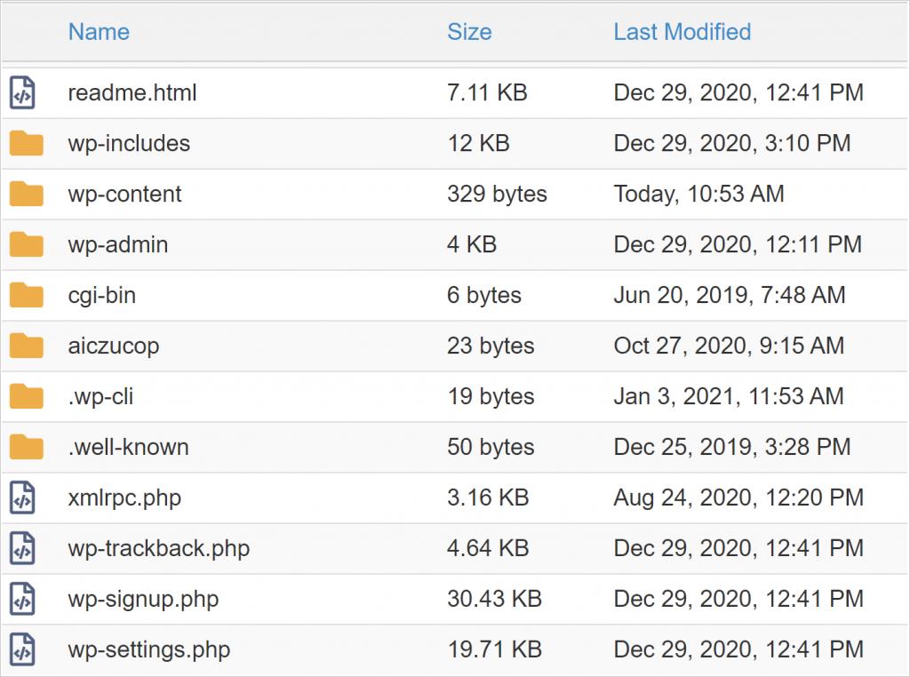 update WordPress core folders and files