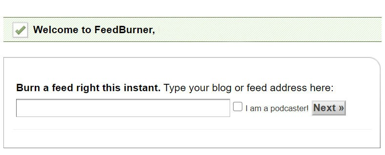 Feedburner Step 1