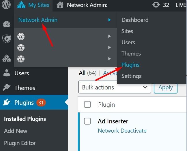 Network Admin Plugin Installation