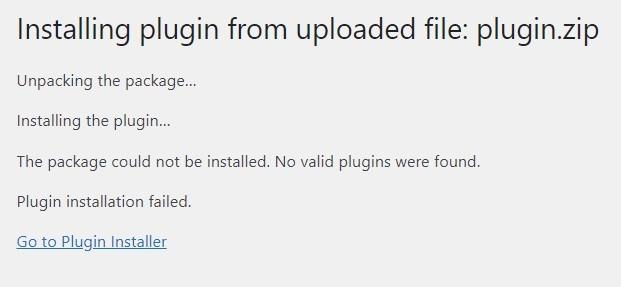 Plugin Installation Failed No Files