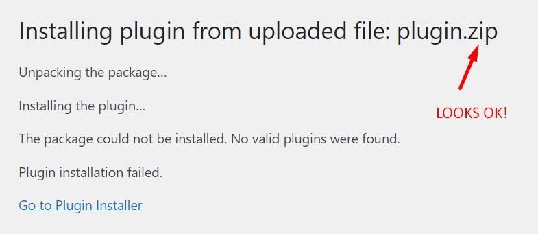 Plugin Zip Folder Error