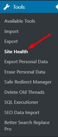 Site Health Menu