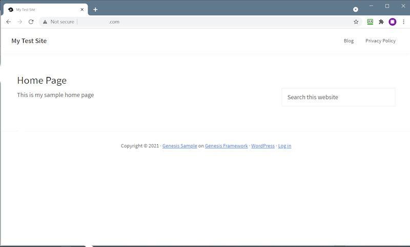 Genesis Sample Home Page