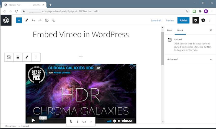 Embed Vimeo in WordPress Step 2