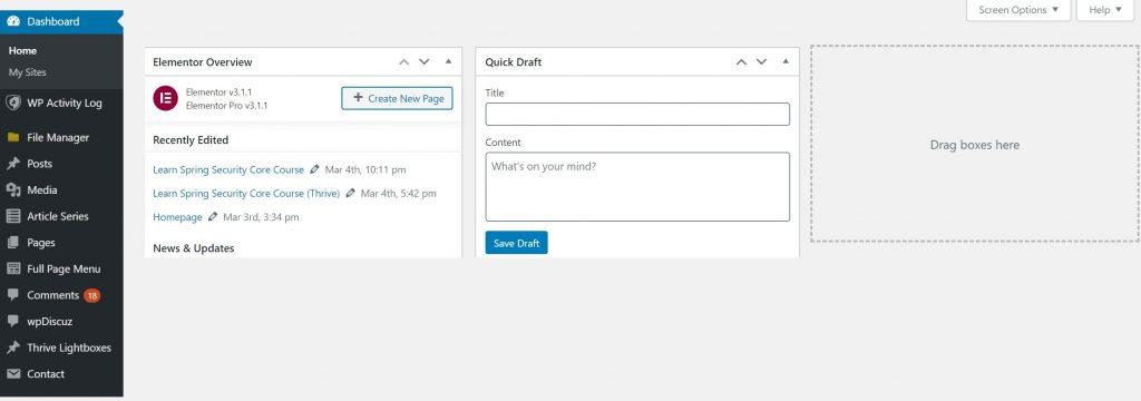 A screenshot of a WordPress-based, B2B website dashboard.