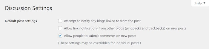 Disable WordPress Comments Settings