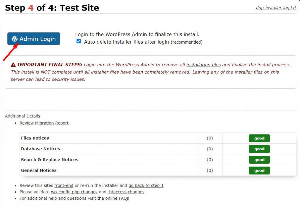 The last step of WP website migration