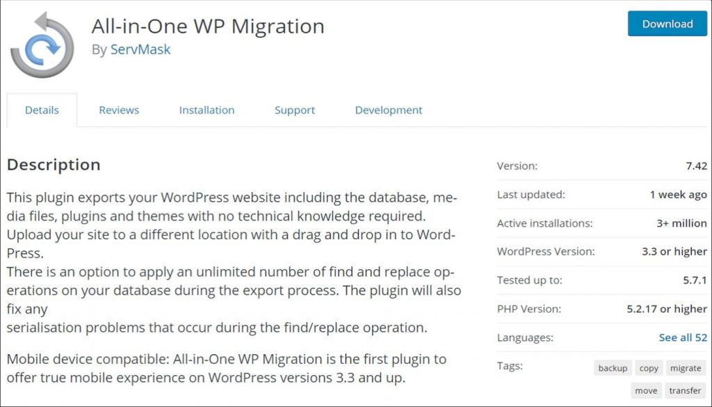 All-in-One WP Migration plugin in WordPress repository
