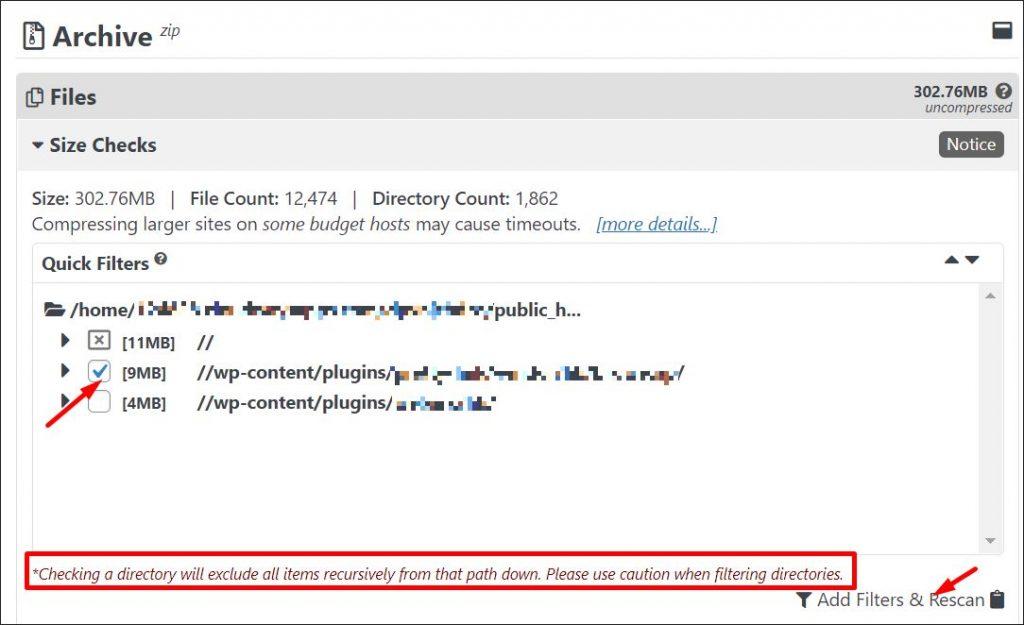 A screenshot of website scan results - size checks
