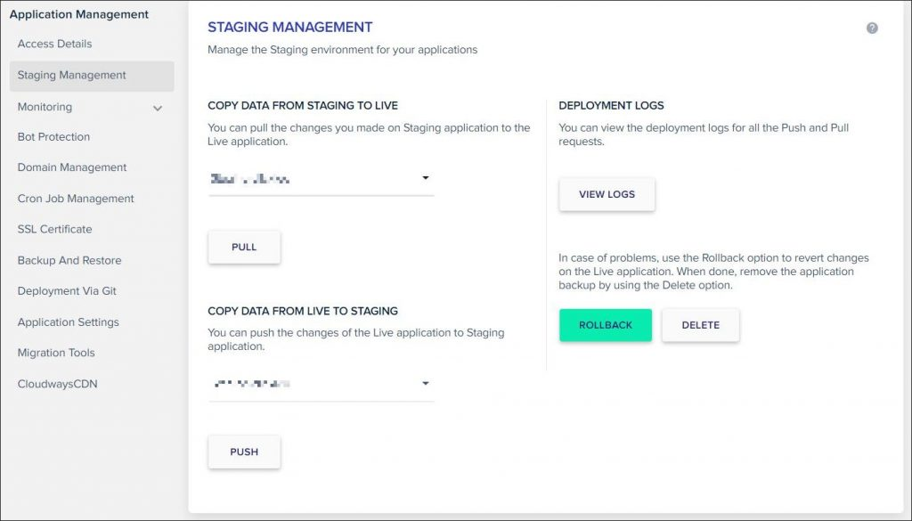 A screenshot of Cloudways hosting staging management dashboard