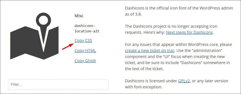 CSS code for a selected Dashicon WordPress icon
