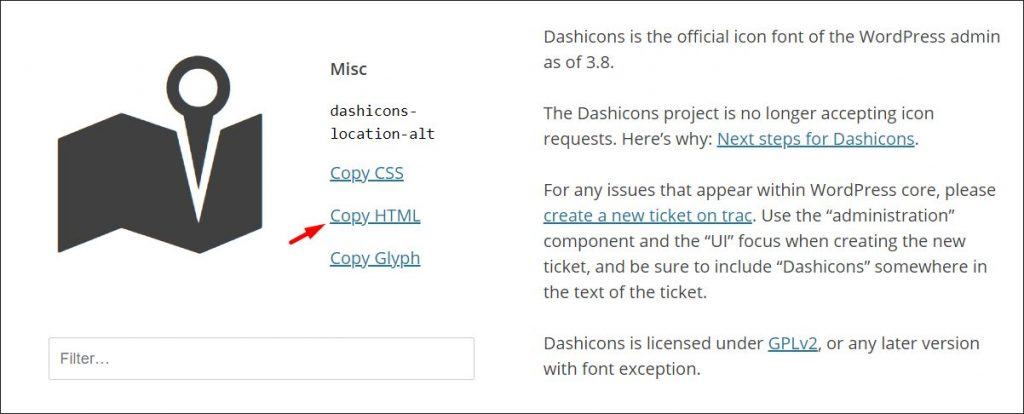 A screenshot of where to find HTML code for a selected Dashicon WordPress icon