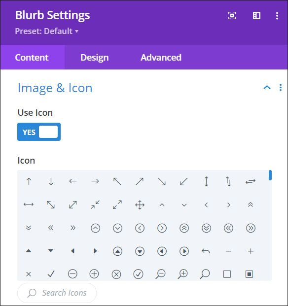 Icons in the Divi theme dashboard