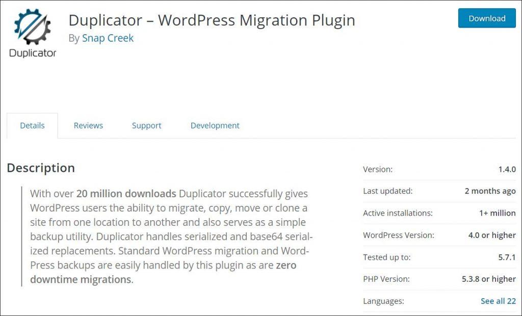 Duplicator plugin in WordPress repository
