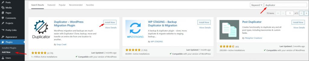 Different migration plugins in WordPress repository