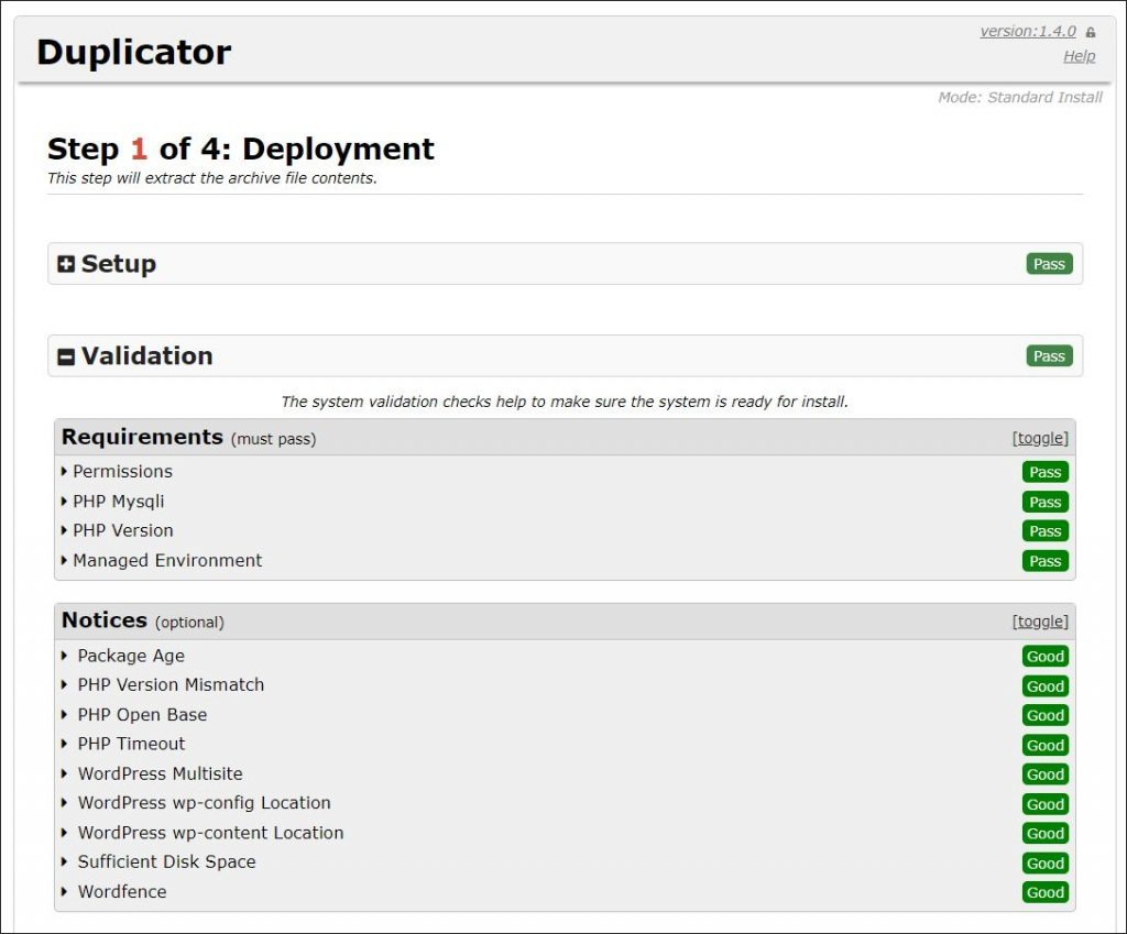 A screenshot of Duplicator website clone deployment