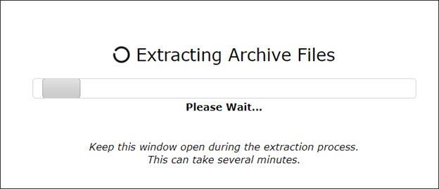 Website archive extraction in progress