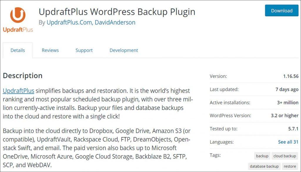 UpdraftPlus plugin in WordPress repository