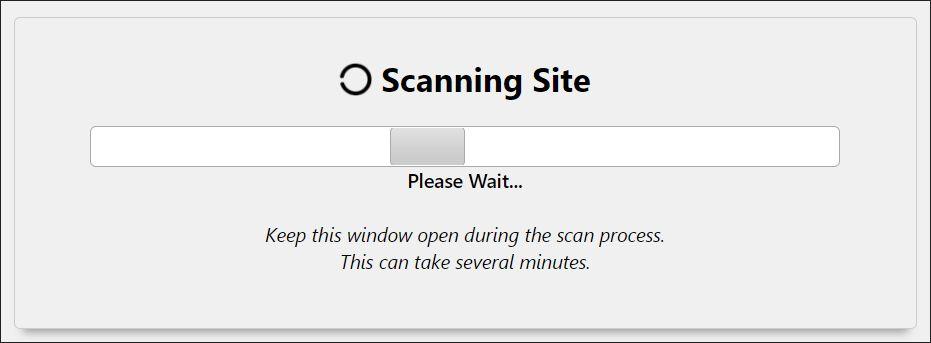 A screenshot of website scanning in progress