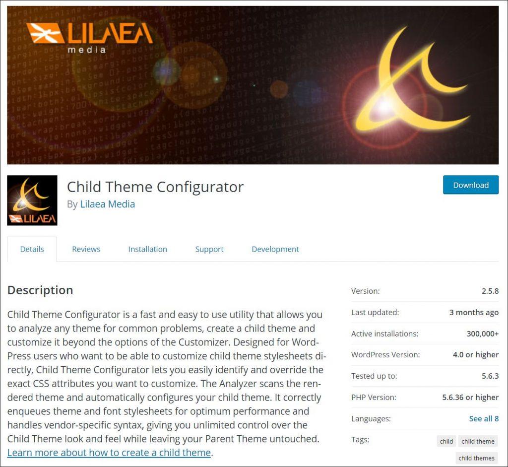 Child Theme Configurator Homepage