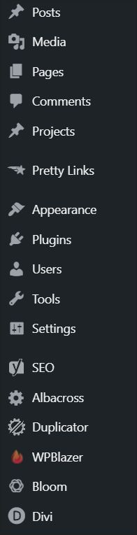 A screenshot of Dashicons - a built-in WordPress icon font - in action in the WordPress dashboard