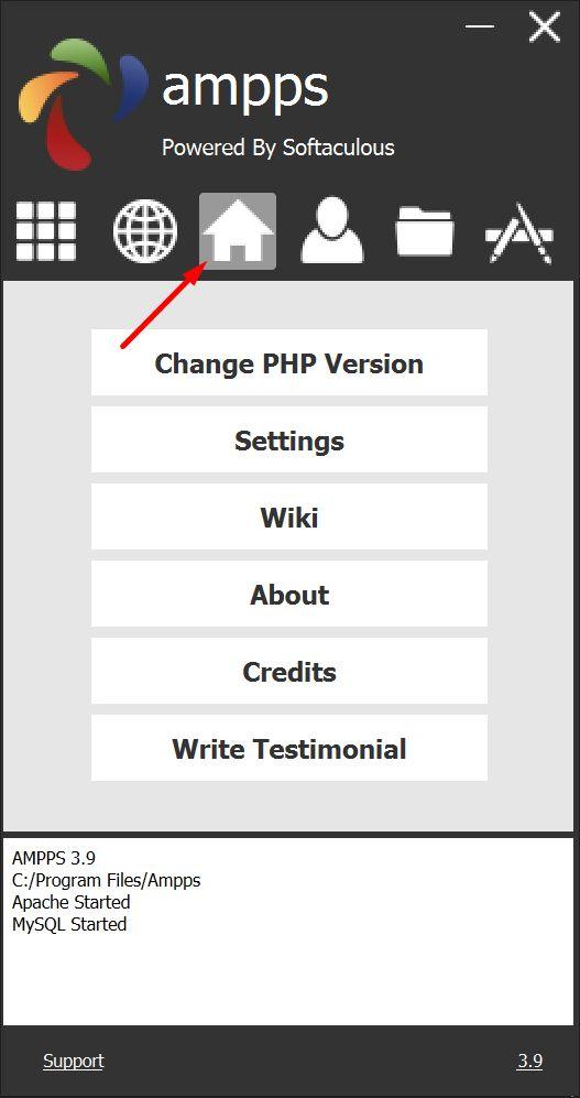 Ampps 3.9 desktop panel