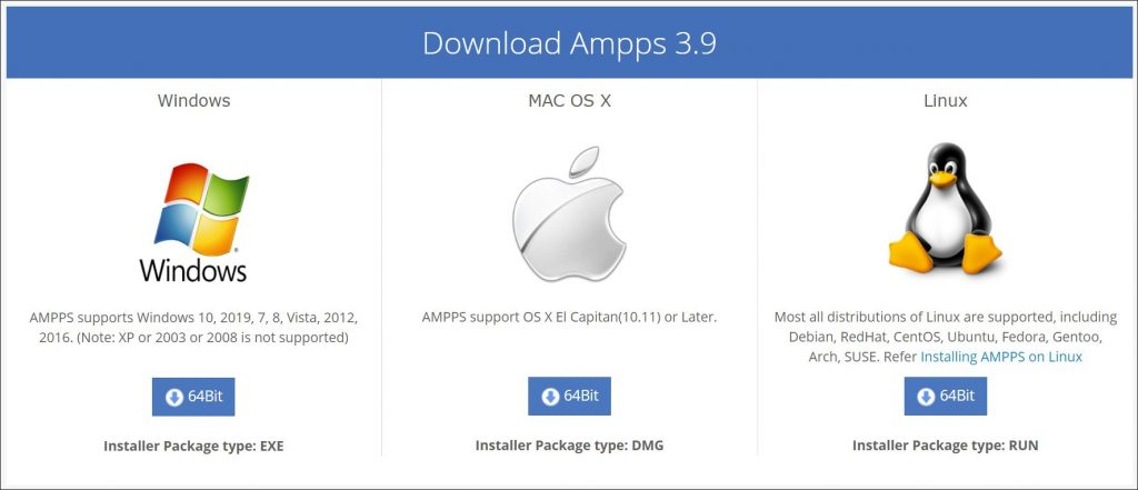 A screenshot showing different versions of Ampps 3.9 available