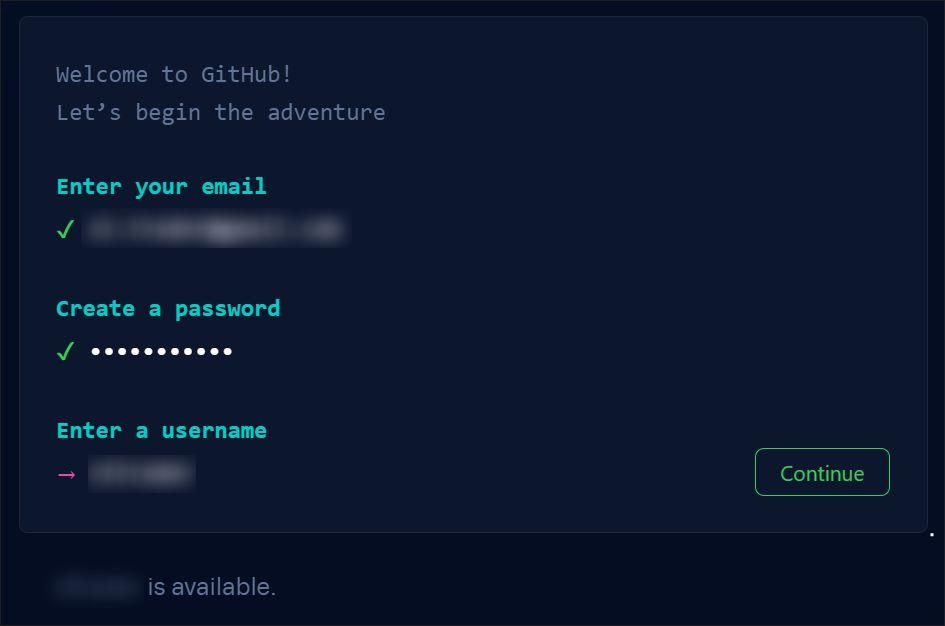 A screenshot of the GitHub.com registration process