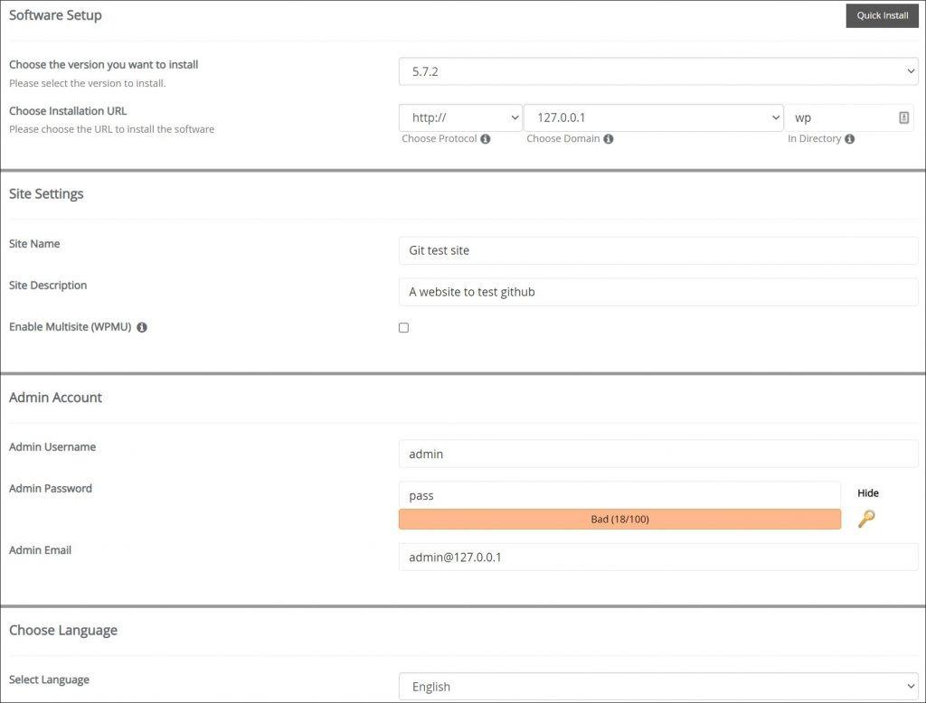 A screenshot showing WordPress installation configuration panel