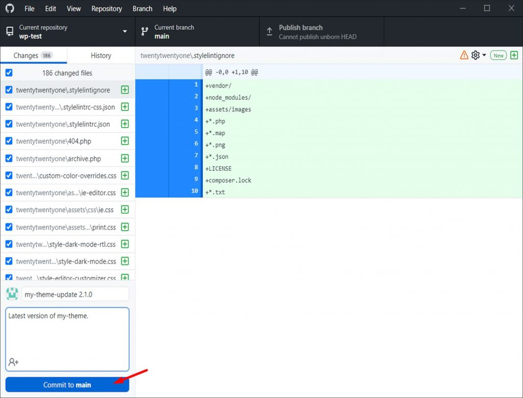 A screenshot showing changes in a test repository