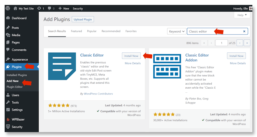 Installing WordPress Classic Editor