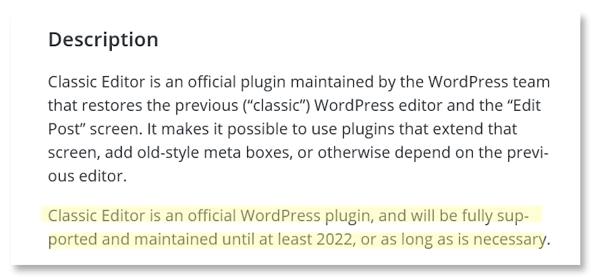 WP Classic Editor Support