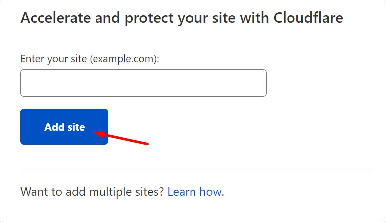 Adding a site to your Cloudflare account