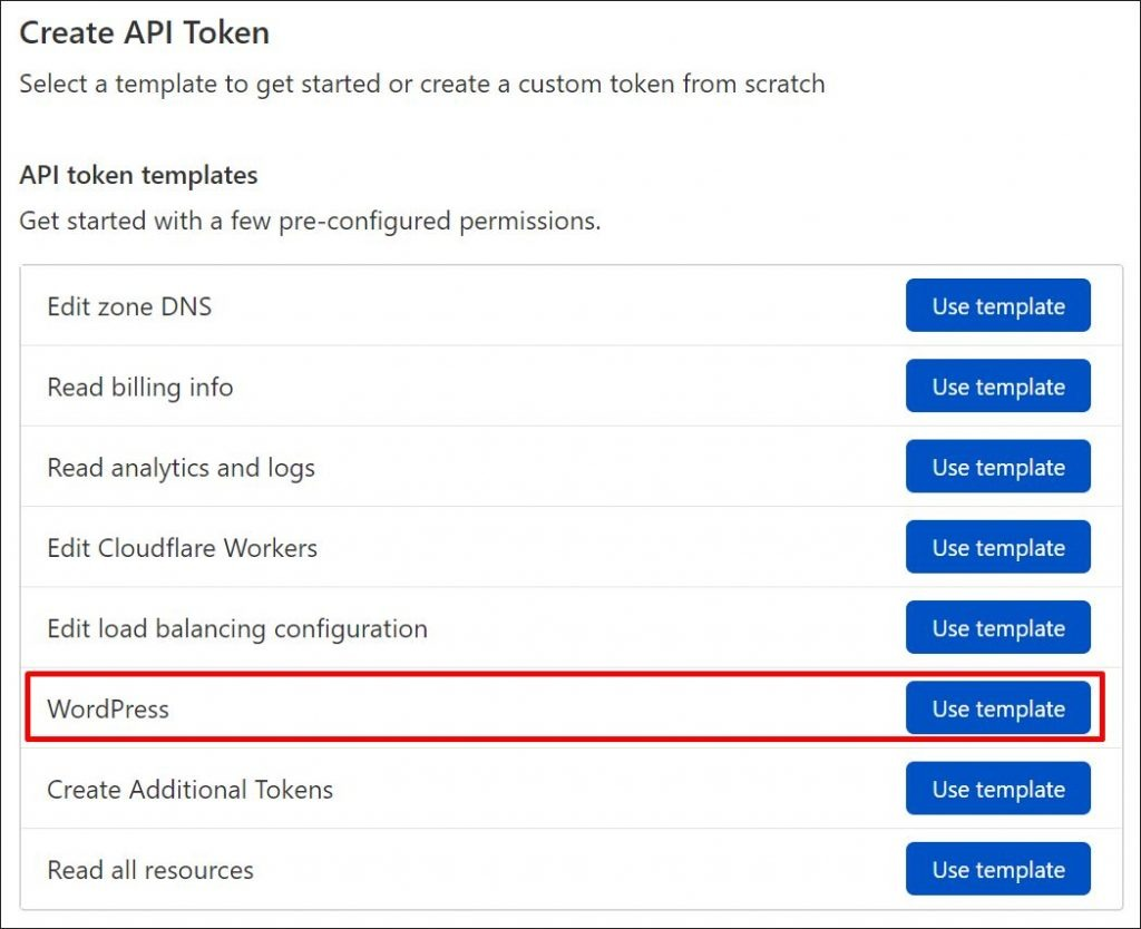 How to create a WordPress API token in Cloudflare