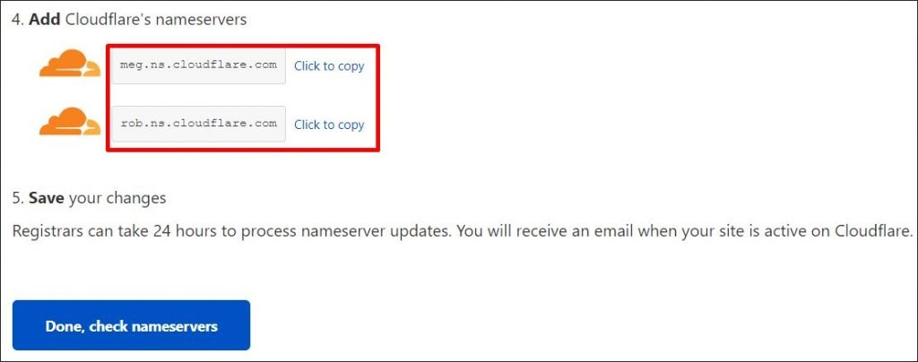 Copy-pasting Cloudflare nameservers
