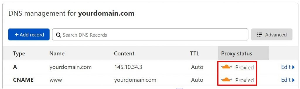 How to set your DNS records to proxied via Cloudflare
